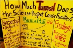 A display board entitled: How much turmoil does the science project cause families?
