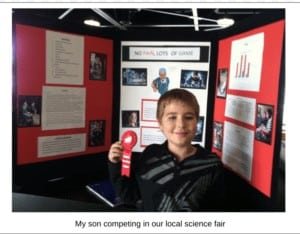 My son competing in our local science fair