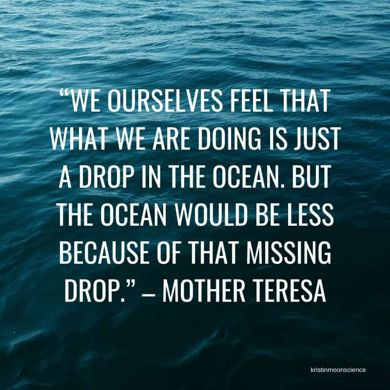 """We ourselves feel that what we are doing is just a drop in the ocean.  But the ocean would be less because of that missing drop."" -Mother Teresa"