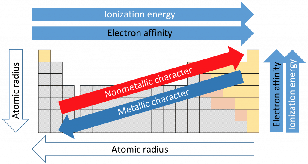 Atomic radii, ionization energy, and electron affinity are all periodic trends one is able to determine with the periodic table