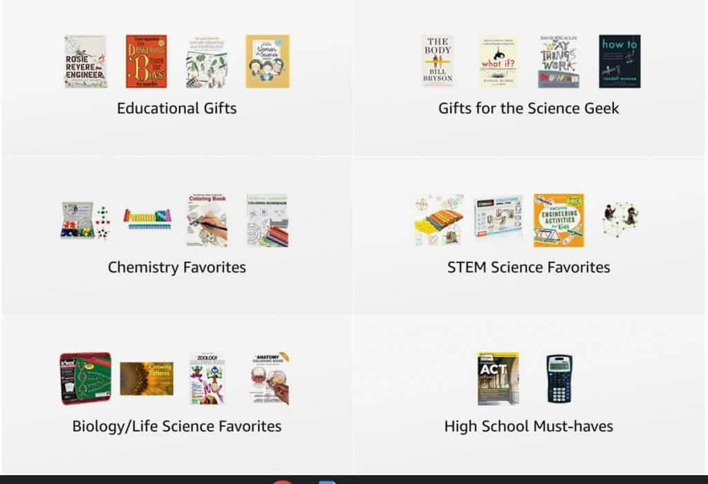 Idea lists in the Kristin Moon Science Amazon storefront