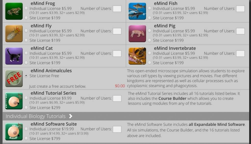 Virtual dissection simulations available on the Expandable Mind website